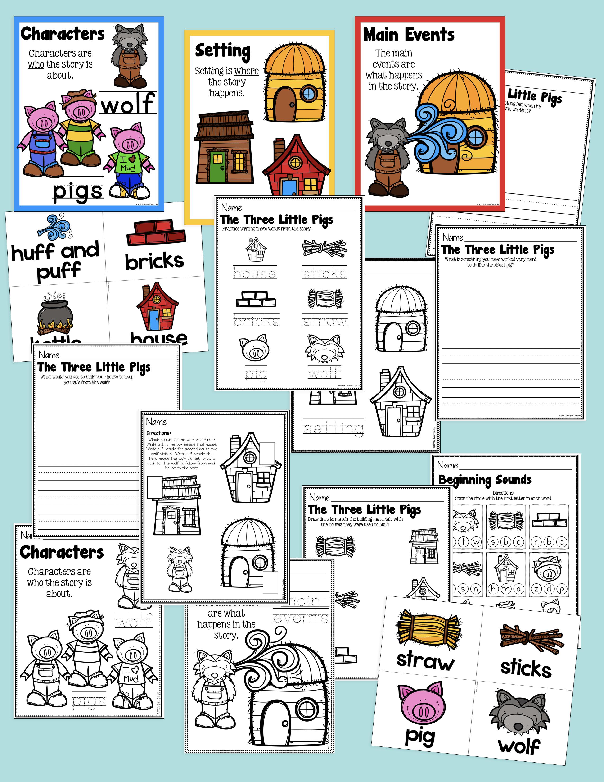 Three Little Pigs Story Elements And Story Retelling Worksheets Pack Three Little Pigs Story Story Elements Three Little Pigs [ 3300 x 2550 Pixel ]