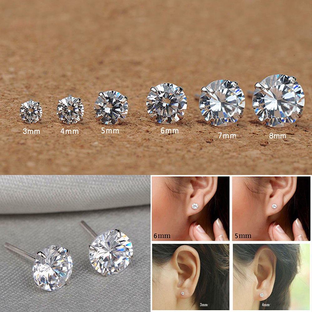 14K White Gold Finish CZ Stud Earrings Clear Emerald CZ Stud Ear Stud 4mm To 8mm