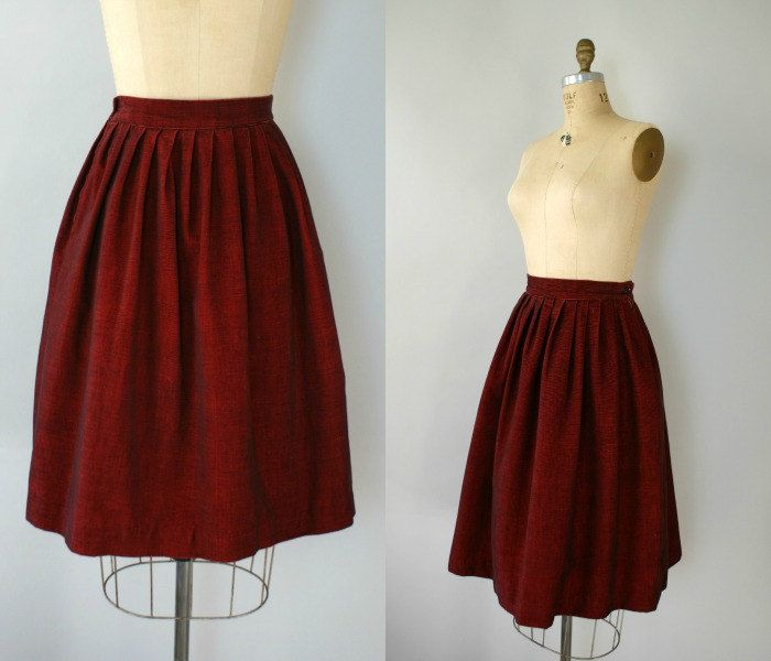 Vintage 1950s Dark Red Corduroy Skirt - 50s Full Red Skirt ...