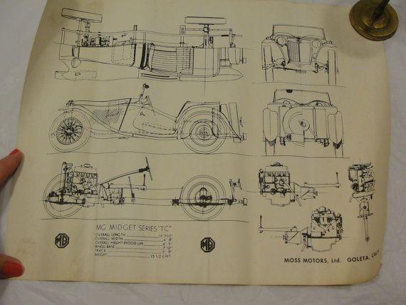 WOW Moss Motors MG Midget Series TC Car Blueprint Scetch Tc cars - new blueprint program online