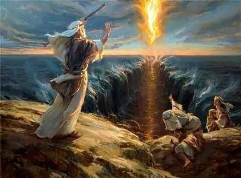 MOSES PARTING OF RED SEA ISRAEL FLEE PAINTING BIBLE TORAH ART REAL CANVAS PRINT