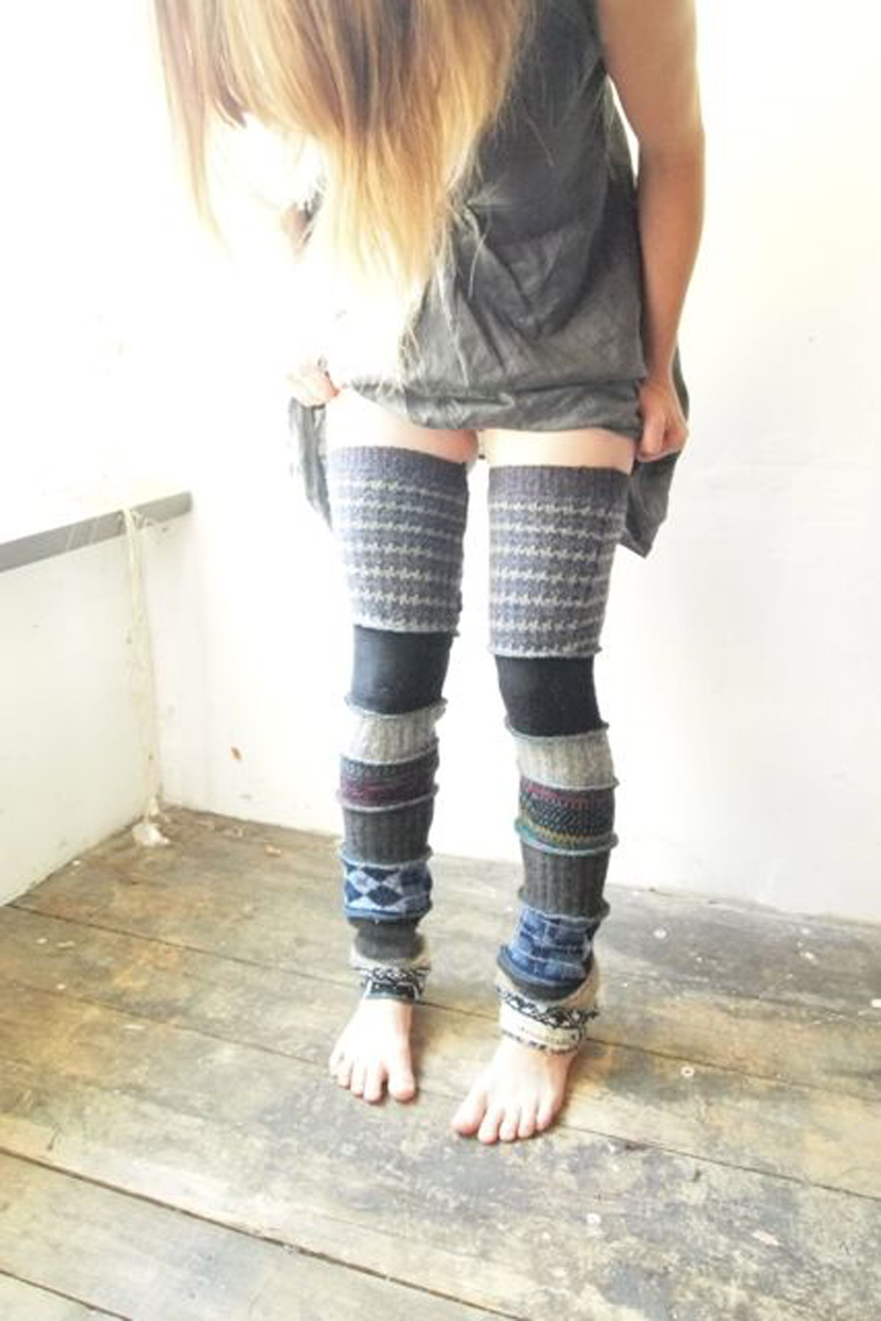 Inspiration for patchwork sweater leggings.   Sewing   Pinterest    Patchwork, Inspiration and Upcycle
