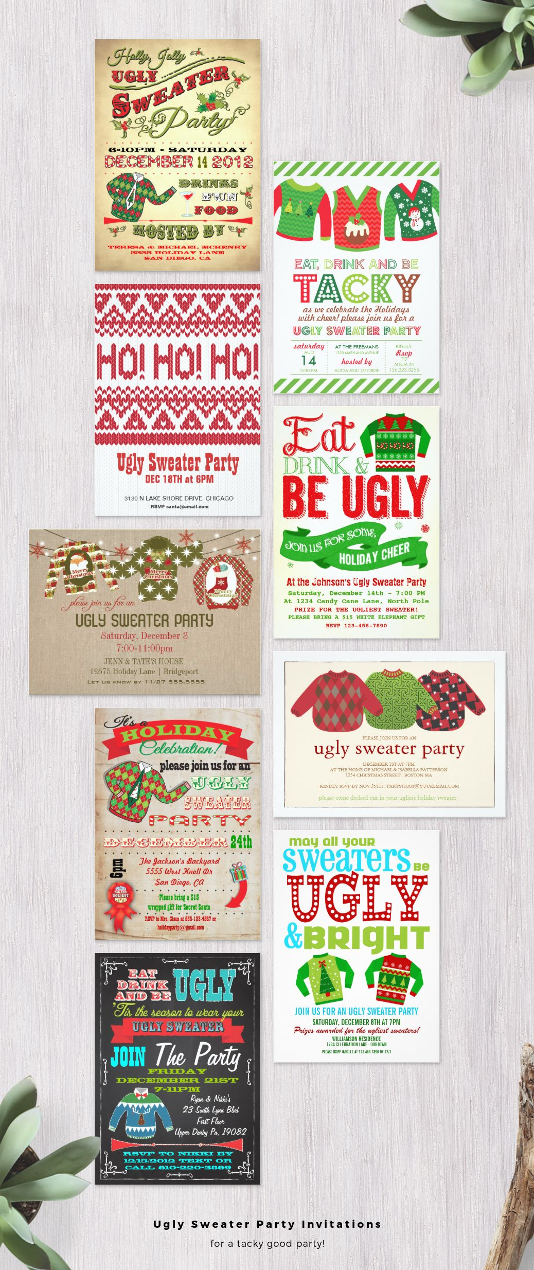Pin On Ugly Christmas Sweater Party Invitations