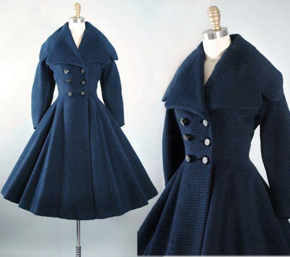 Lilli Navy Ann Coat 1950s Princess Vintage 50s France Paris Blue DH9IE2W