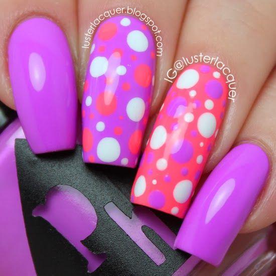 Luster Lacquer: Neon Dotticure #nails #polkadots #cutenails