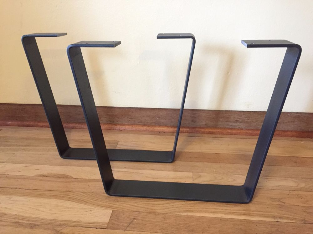 Metal coffee table legs w clearcoat steel flatbar modern industrial trapezoid for the home Aluminum coffee table legs