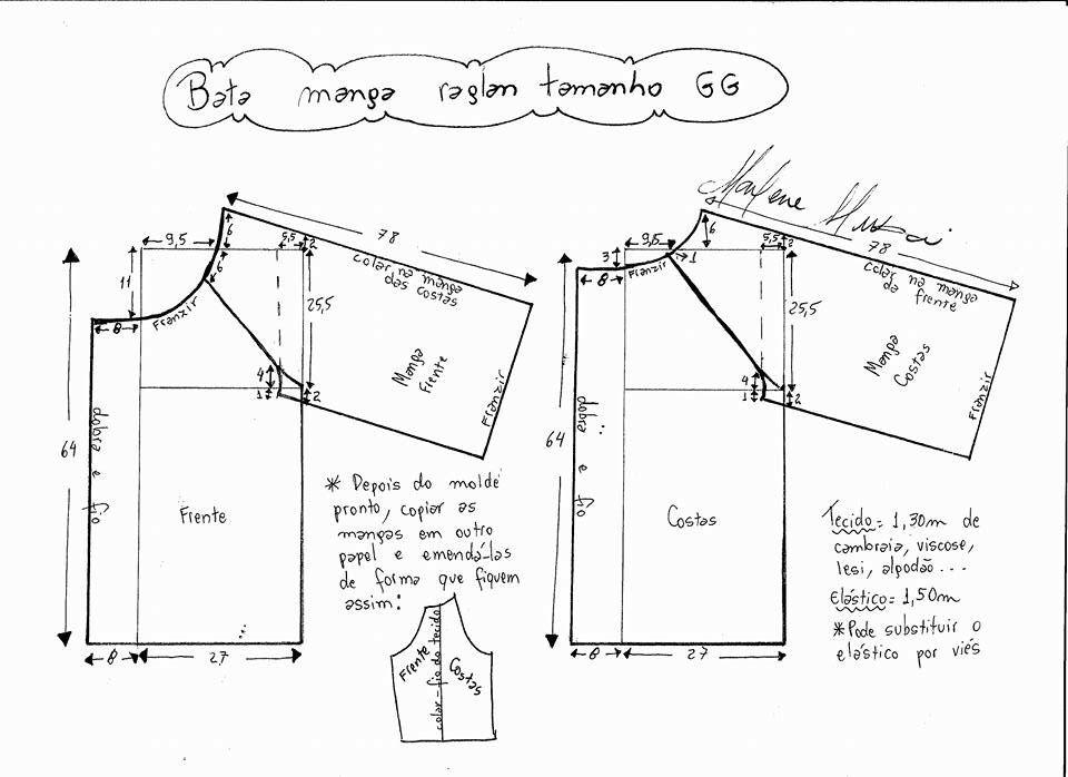 Blusa manga raglan | Costura - Patrones | Pinterest | Manga raglan ...