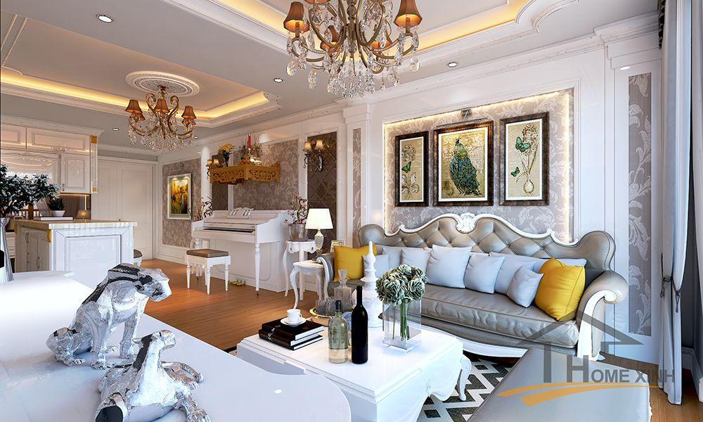 Hút mắt trước mẫu nội thất chung cư Golden field 110m2 \u2013 Chú Huy - charmantes appartement design singapur