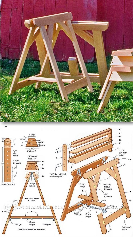 Folding Sawhorse Plans - Workshop Solutions Plans, Tips and Tricks | WoodArchivist.com ...
