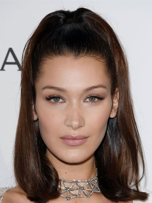 Bella Hadid Wears Her Dark Brown Hair With Brown And Red Tones In A