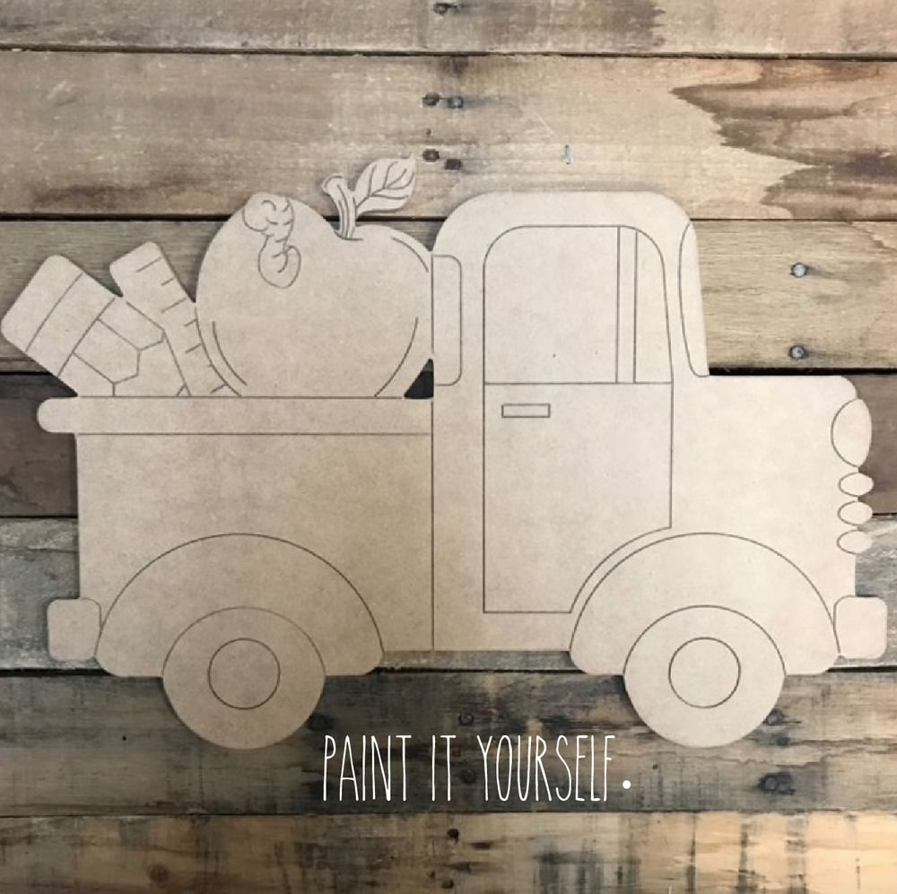 Details About Door Hanger Back To School Classic Truck Cutout Unfinished Shape Teacher Gift Valentines Door Hanger Classic Trucks Wooden Cutouts