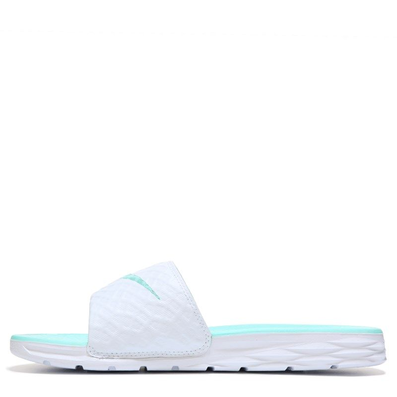 7591d1b4bd353a Nike Women s Benassi Solarsoft Slide Sandals (White Artisan Teal) - 10.0 M