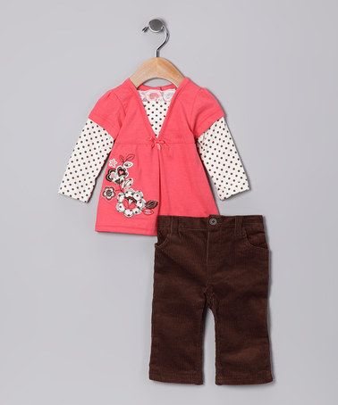 Take a look at this Light Orange Polka Dot Layered Tunic & Corduroy Pants - Infant by Young Hearts on #zulily today!
