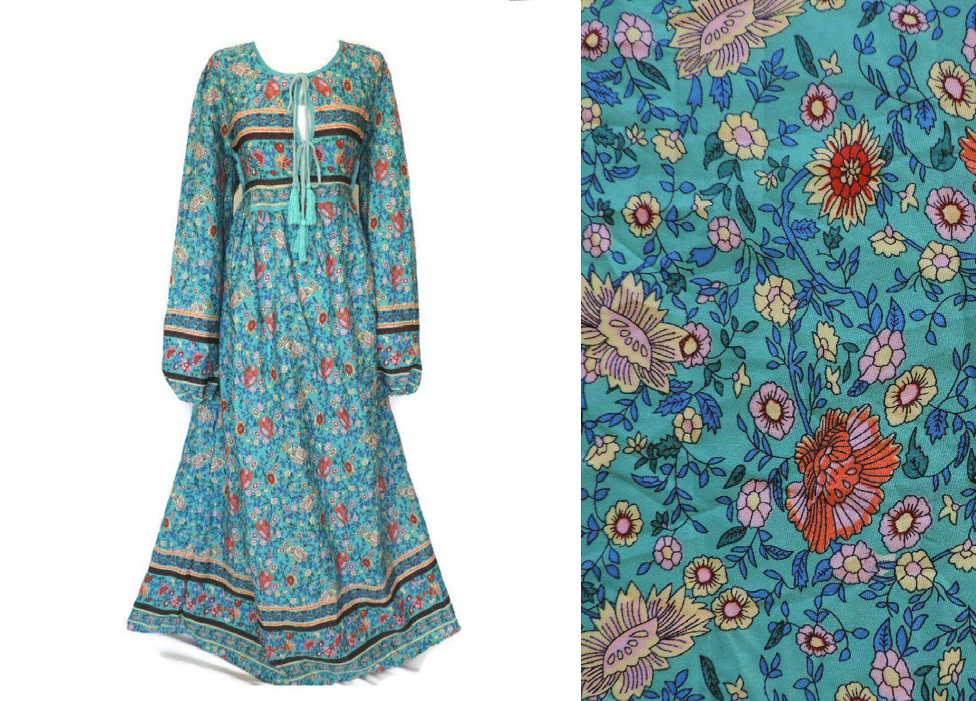 70s Brown Ditsy Floral Vivien Smith Dress With Peter Pan Etsy Hippie Dresses Vintage Maxi Dress Floral Maxi Dress [ 1400 x 1950 Pixel ]