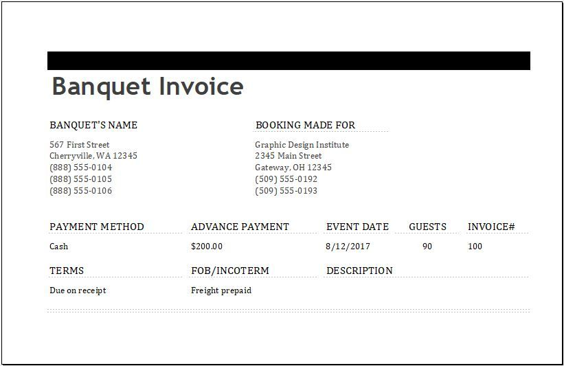 Banquet Invoice Template Invoice Template Invoicing Business Template
