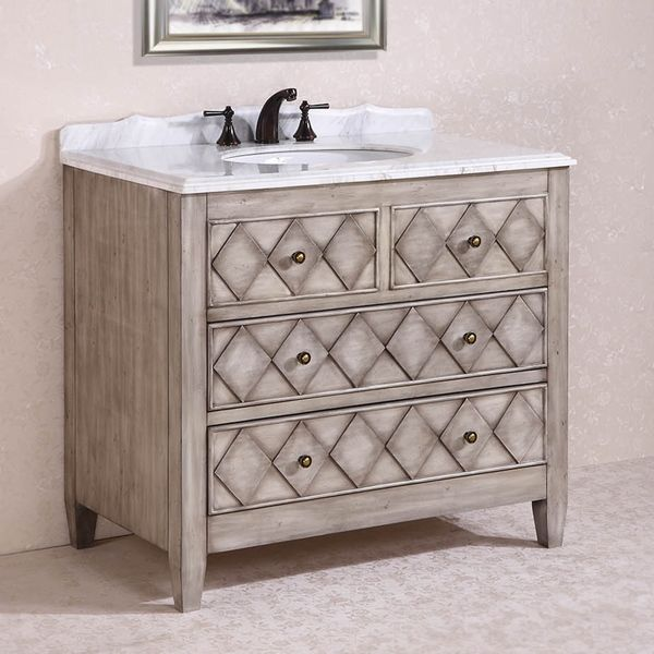 Abel Antique 40 Inch Antique Light Grey White Marble Top Single Alluring 40 Inch Bathroom Vanity Design Ideas