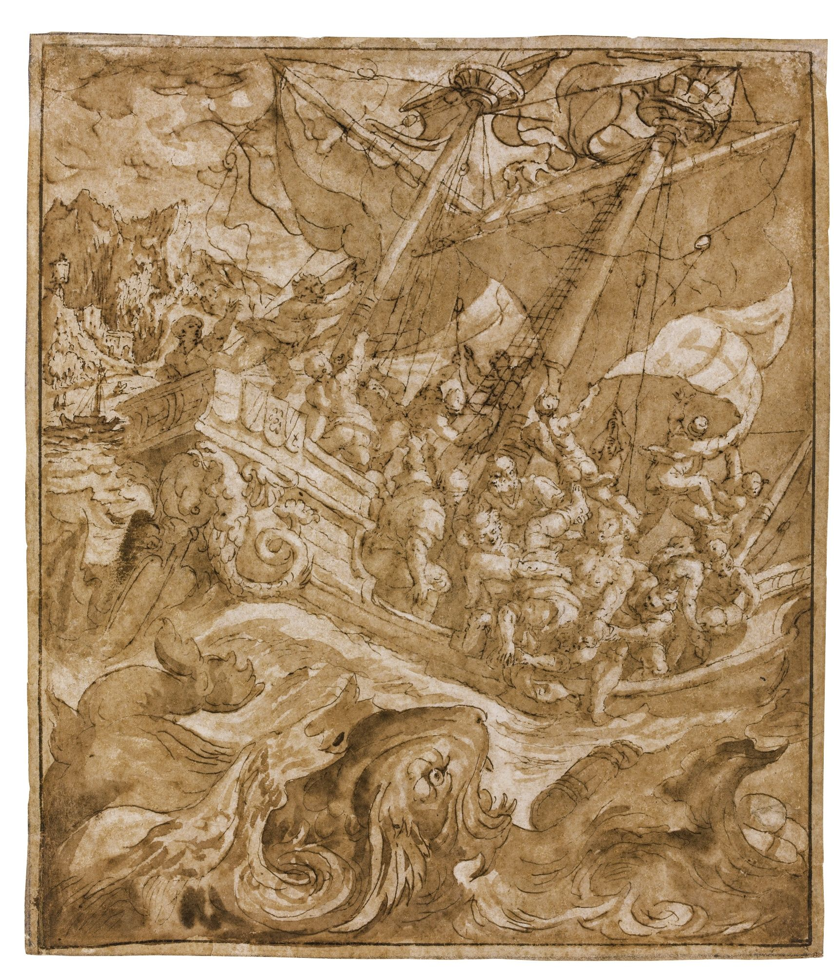 Maerten de Vos ANTWERP 1532 - 1603 JONAH CAST INTO THE SEA Pen and brown ink and wash, within partial brown ink framing lines, indented for transfer 216 by 183 mm