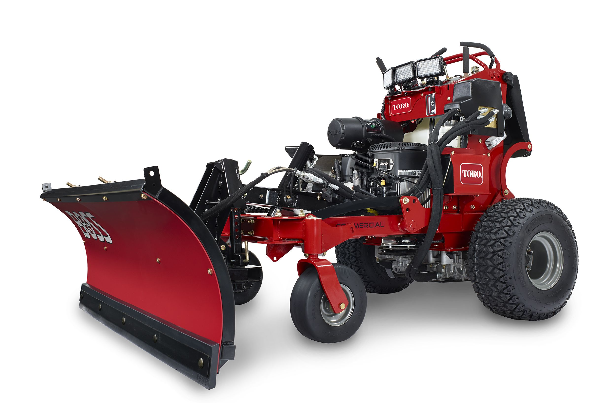 Toro stand-on mower now takes snow-plow attachments
