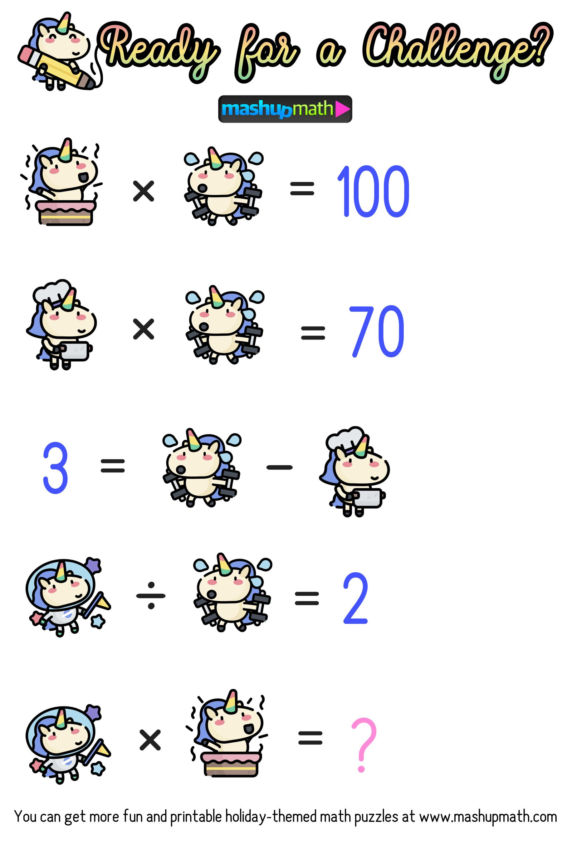 Math Cartoons Unicorn Math Puzzles For Grades 1 6 In
