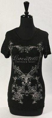 Ladies 'Locatelli' Short Sleeve Burnout Shirt available in Wine, Indigo Black - S, M, L XL 60% Cotton/40% Polyester - Preshrunk