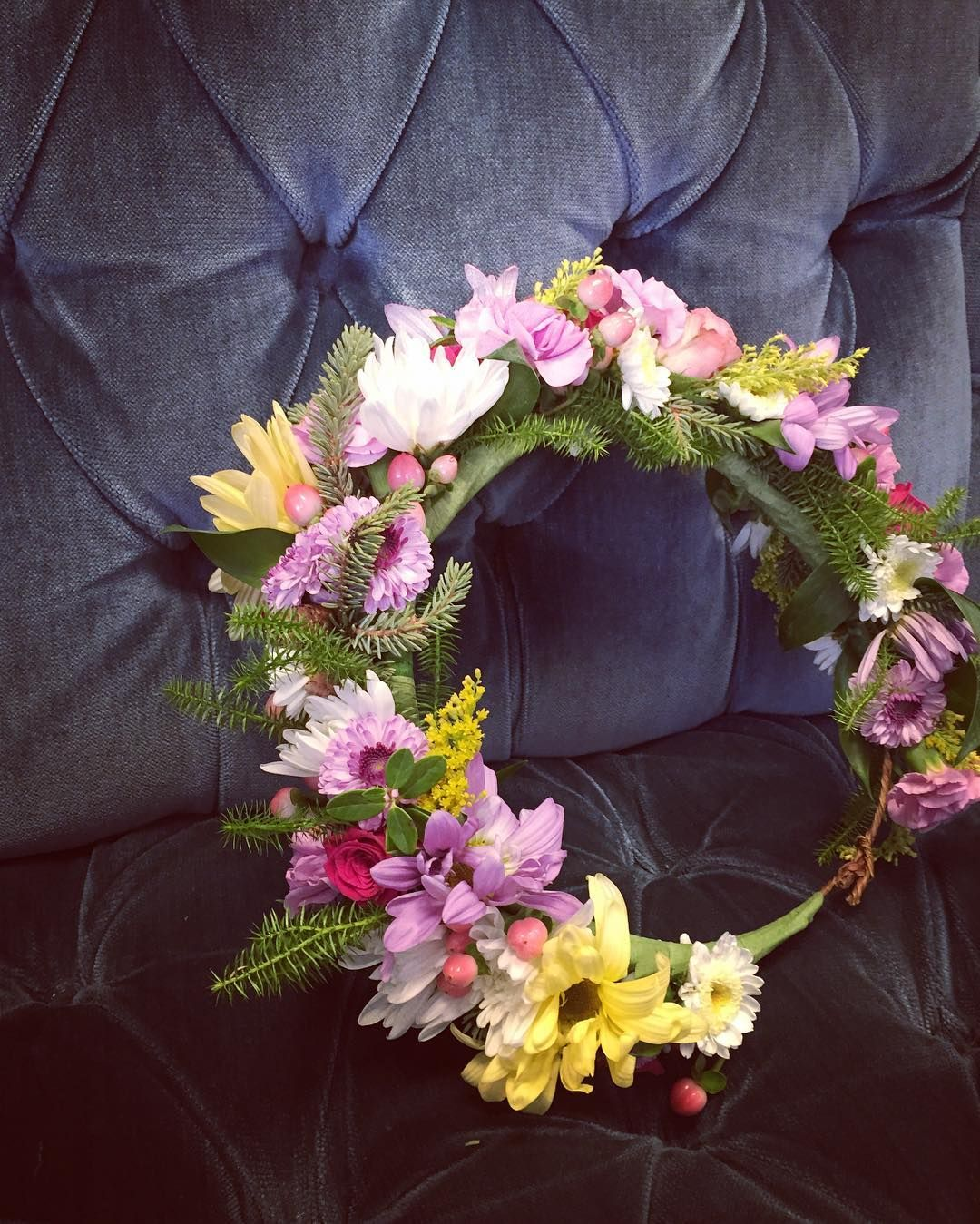 Flower Crown Made With Daisies Button Mums Solidago Hypericum