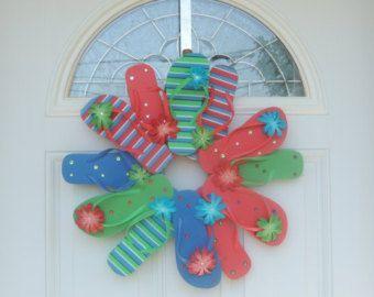 Handmade Flip Flop Flower Wreath Door Wall Decor Daisies