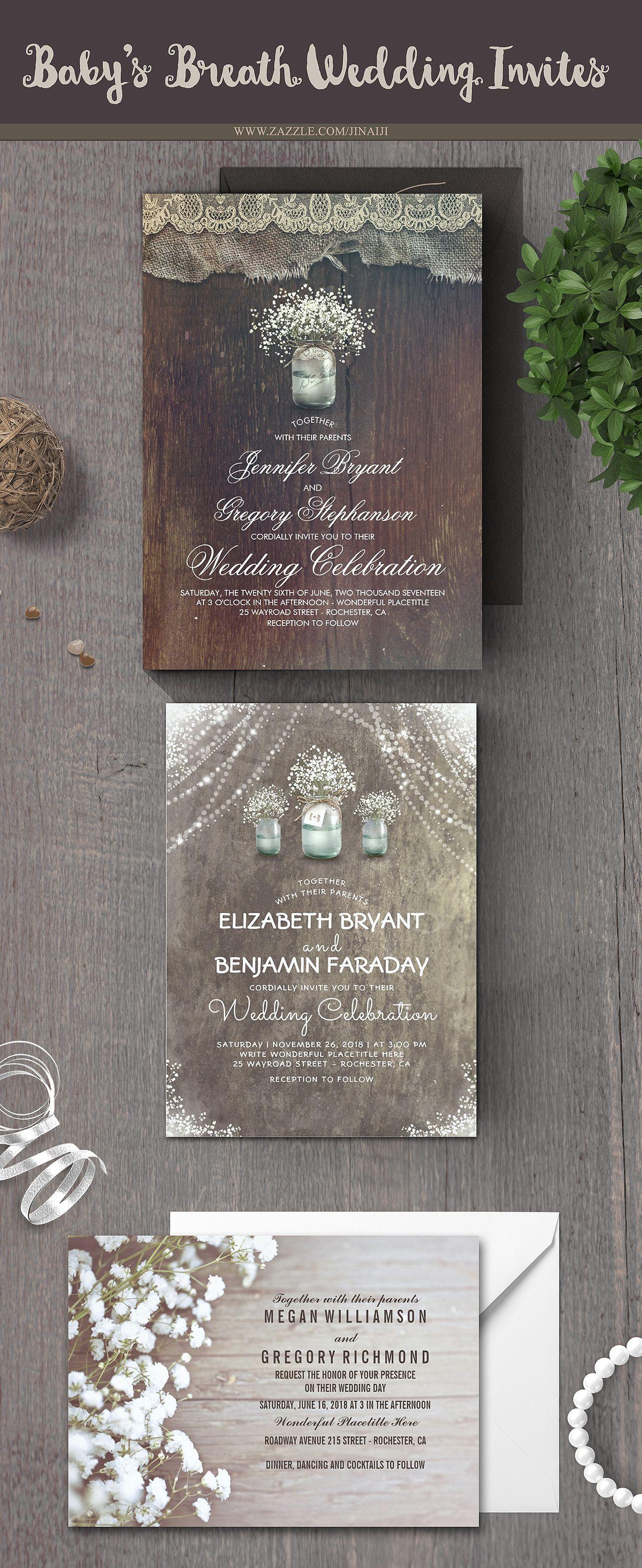 Wedding decorations with flowers november 2018 Rustic Country Mason Jar and Babyus Breath Wedding Card  th