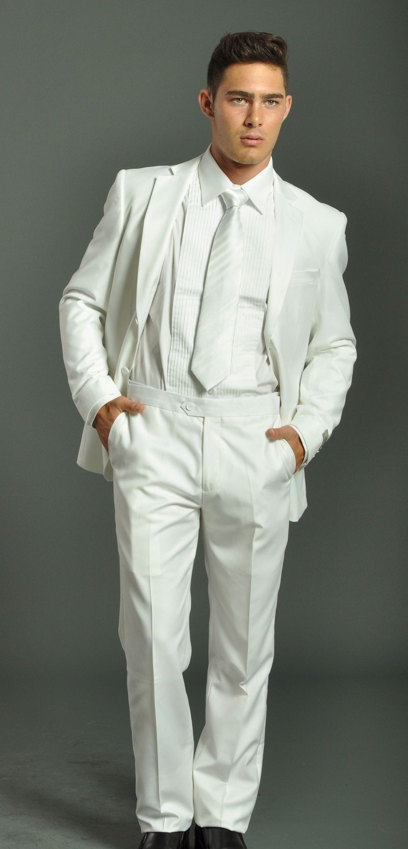 All White Tuxedos | Men's Two Button Solid White Tuxedo Suit ...