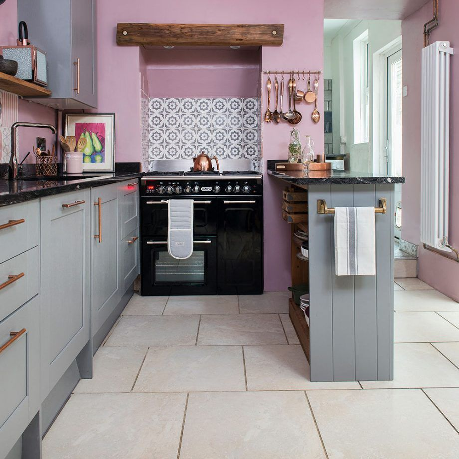 Kitchen Makeover With Pink Walls Grey Units And Vintage Furniture Kitchen Appliances Layout Painting Kitchen Cabinets Pink Kitchen