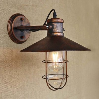 Genial Single Light Antique Copper Nautical Wall Sconce With Cage