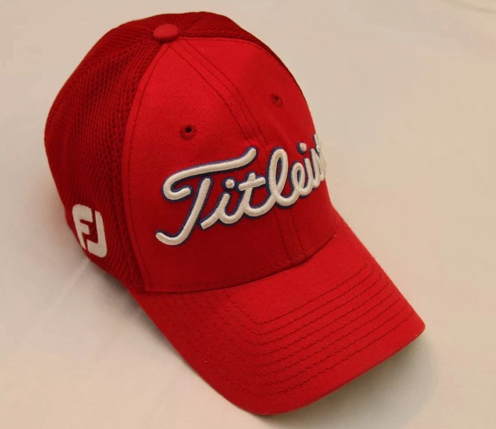 Titleist Footjoy FJ Pro V1 Hat Red New Era Small-Medium Mesh Fitted  NewEra   BaseballCap b86149ea832