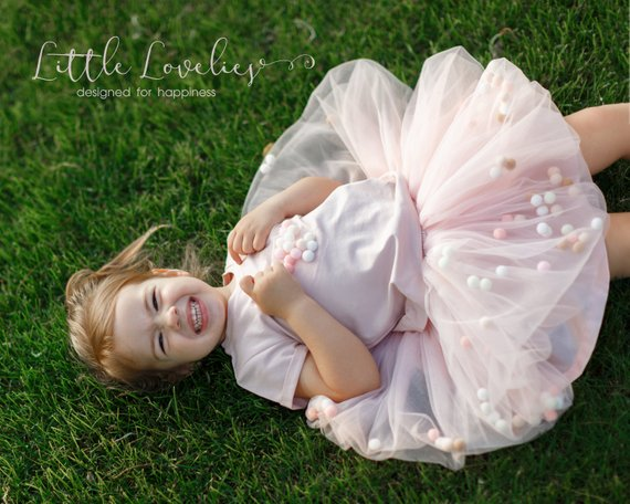 f2e010d6f8 Blush tutu for girls with pastel pom poms, rose gold tutu newborn,  cakesmash tutu, toddler tutu skir