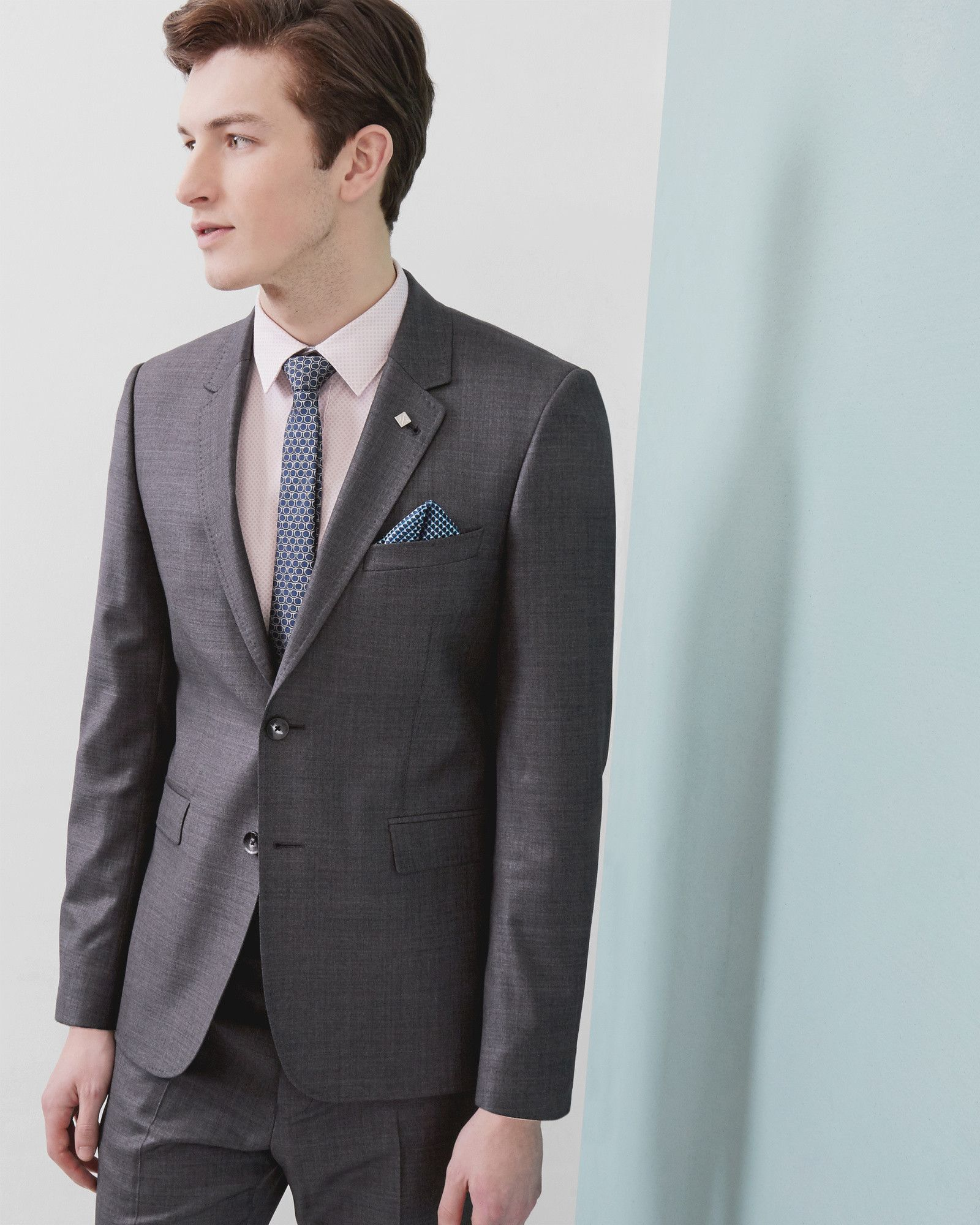 Sharkskin wool jacket - Charcoal | Suits | Ted Baker | Jacket for ...