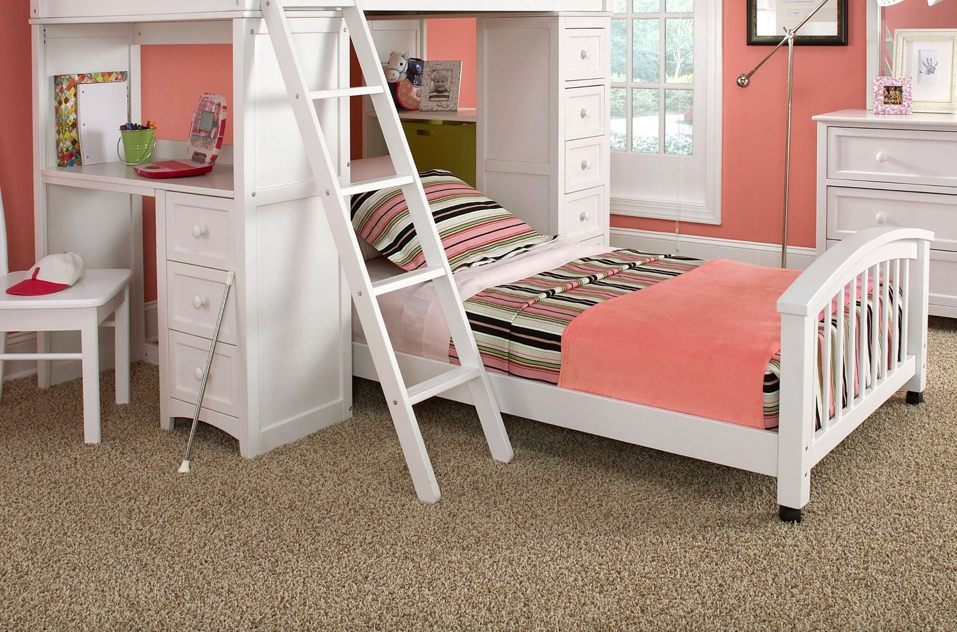 Loft bed with desk white  Bunk Bed Buying Guide  Hayneedle  White granite  Pinterest  Bunk