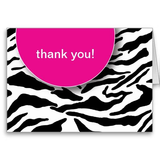 Thank You-Wild Zebra Stripes (Pink) Greeting Card by The Spotted Olive™.
