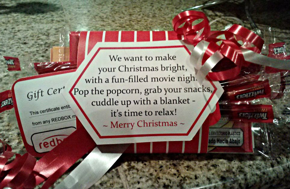 Cute gift idea!!! Redbox Gift Certificate with a package of ...