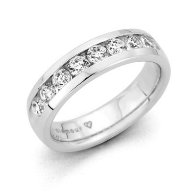 T W Certified Diamond Channel Set Wedding Band In 14k White Gold G H Vs1 Vs2 View All Rings Zales