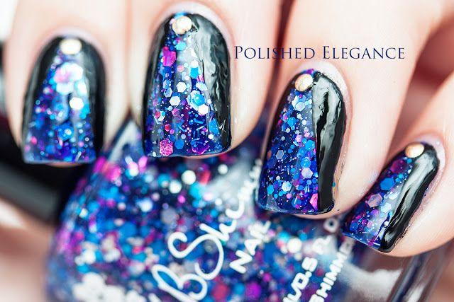 KB Shimmer - Hex Appeal Indie nail polish nail art mani manicure studs studded nail art blue glitter black chevron nail art manicure