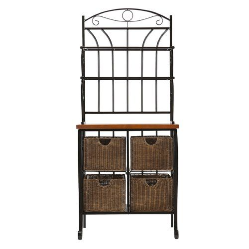 Baker Rack Home Haus Bakers Rack Wicker Baskets Storage Wrought