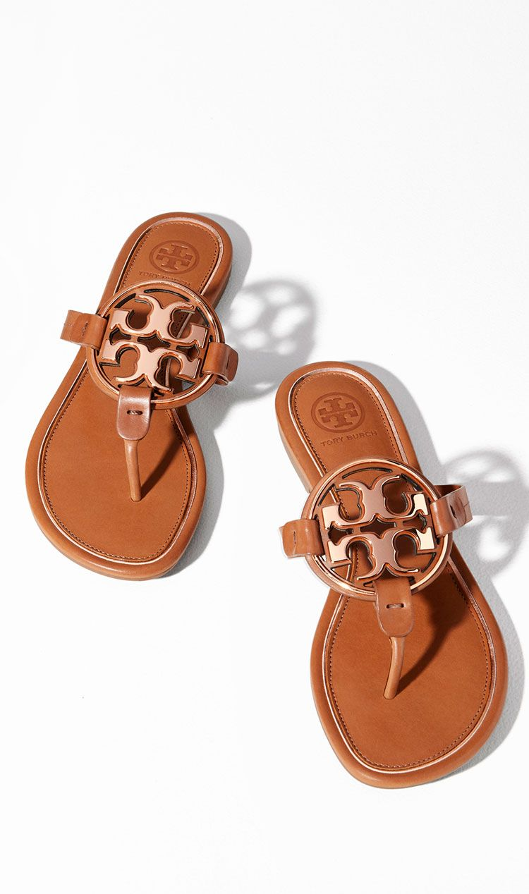 c27d533e8 Tory Burch Miller Metal-Logo Sandal Flat Sandals Outfit, Shoes Sandals,  Sandals 2018