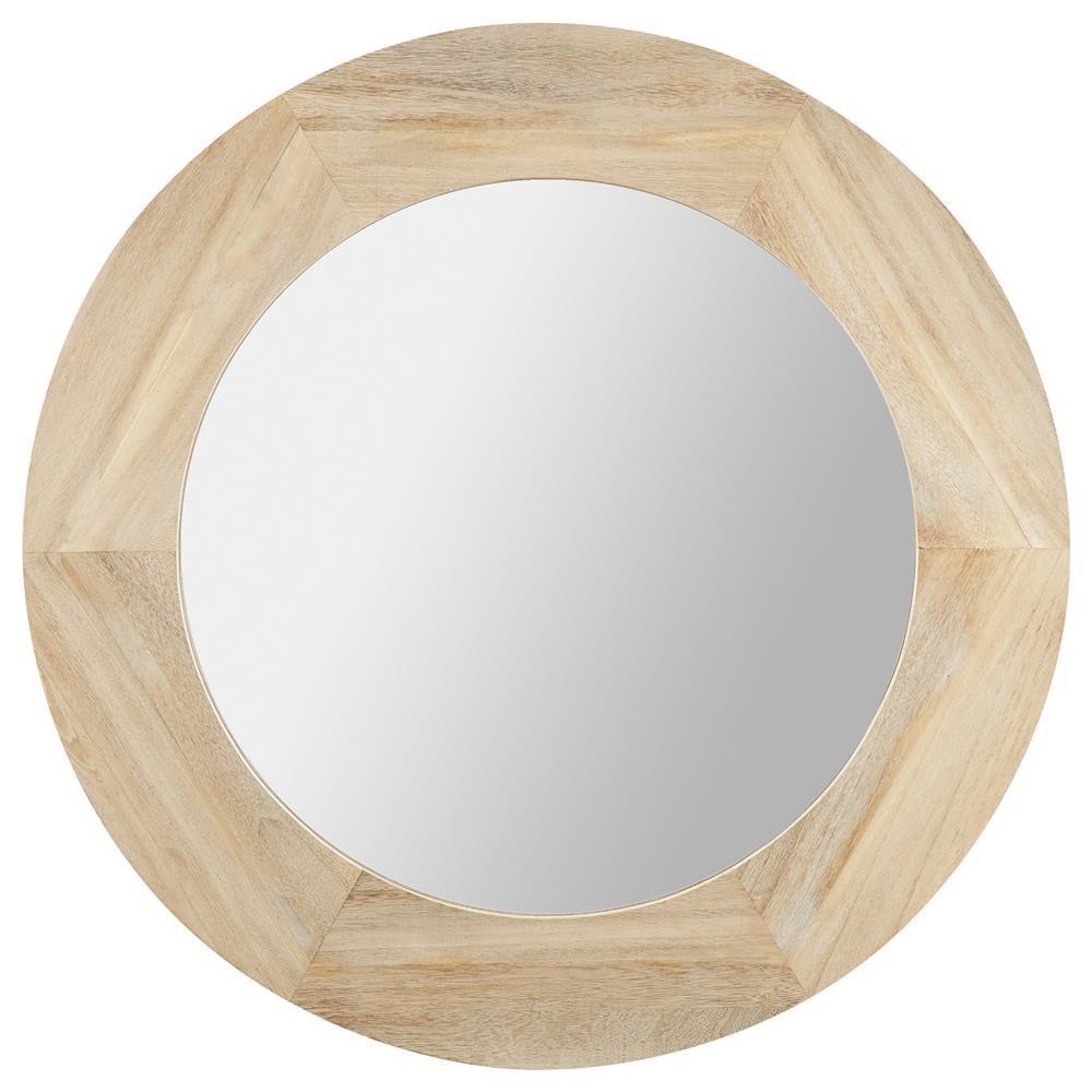 Miroir rond avec cadre en bois de ch ne teindre projet for Miroir bois rond