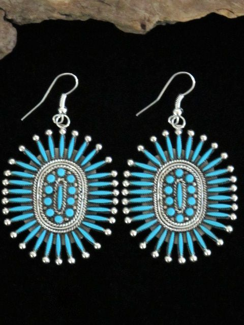 Iva Booqua Native American Indian Zuni Turquoise Earrings