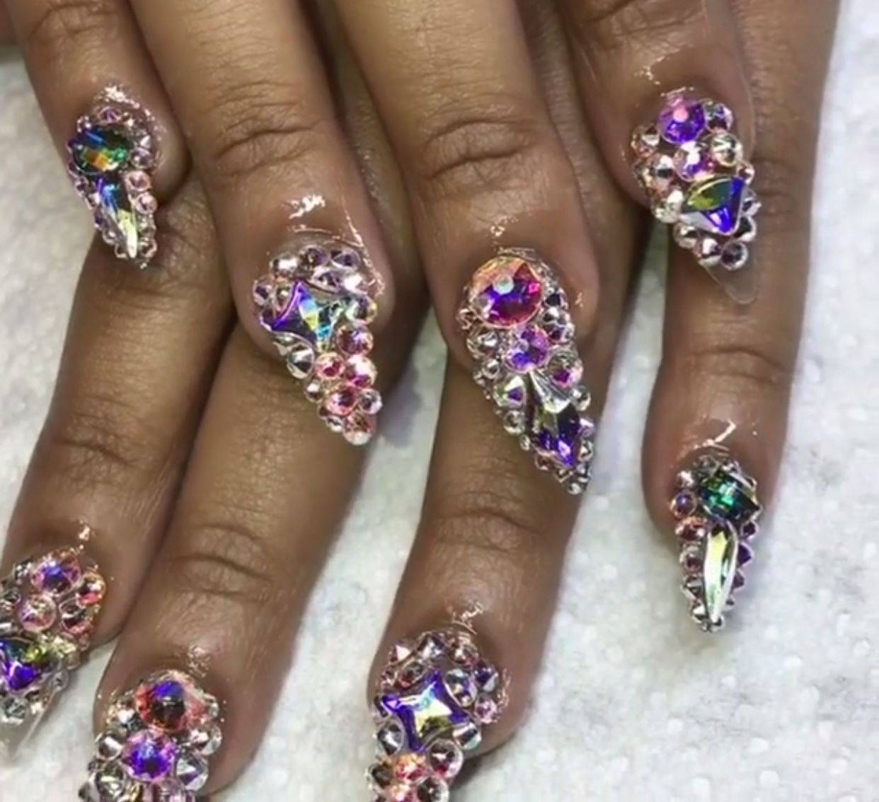 Diamond Nail Design Stiletto Acrylic Nails Colorful Art Med Length Nailart Naildesign Pin Amerishabeauty