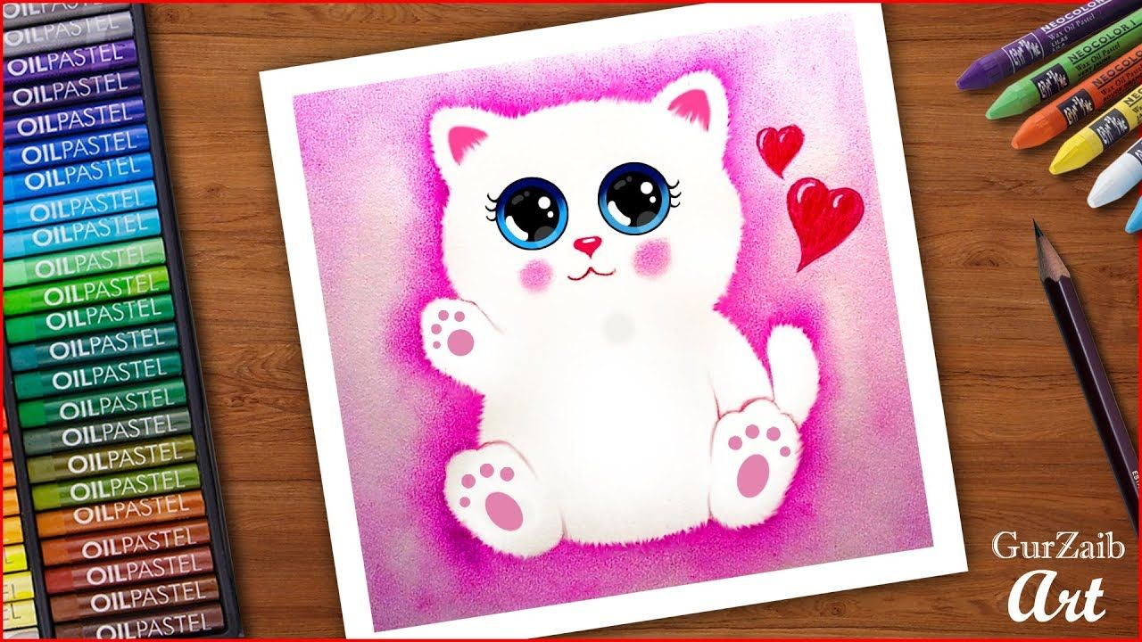 Airbrush effect with oil pastels - Cute Fluffy Cat - easy drawing tutorial | Oil pastel, Drawing ...