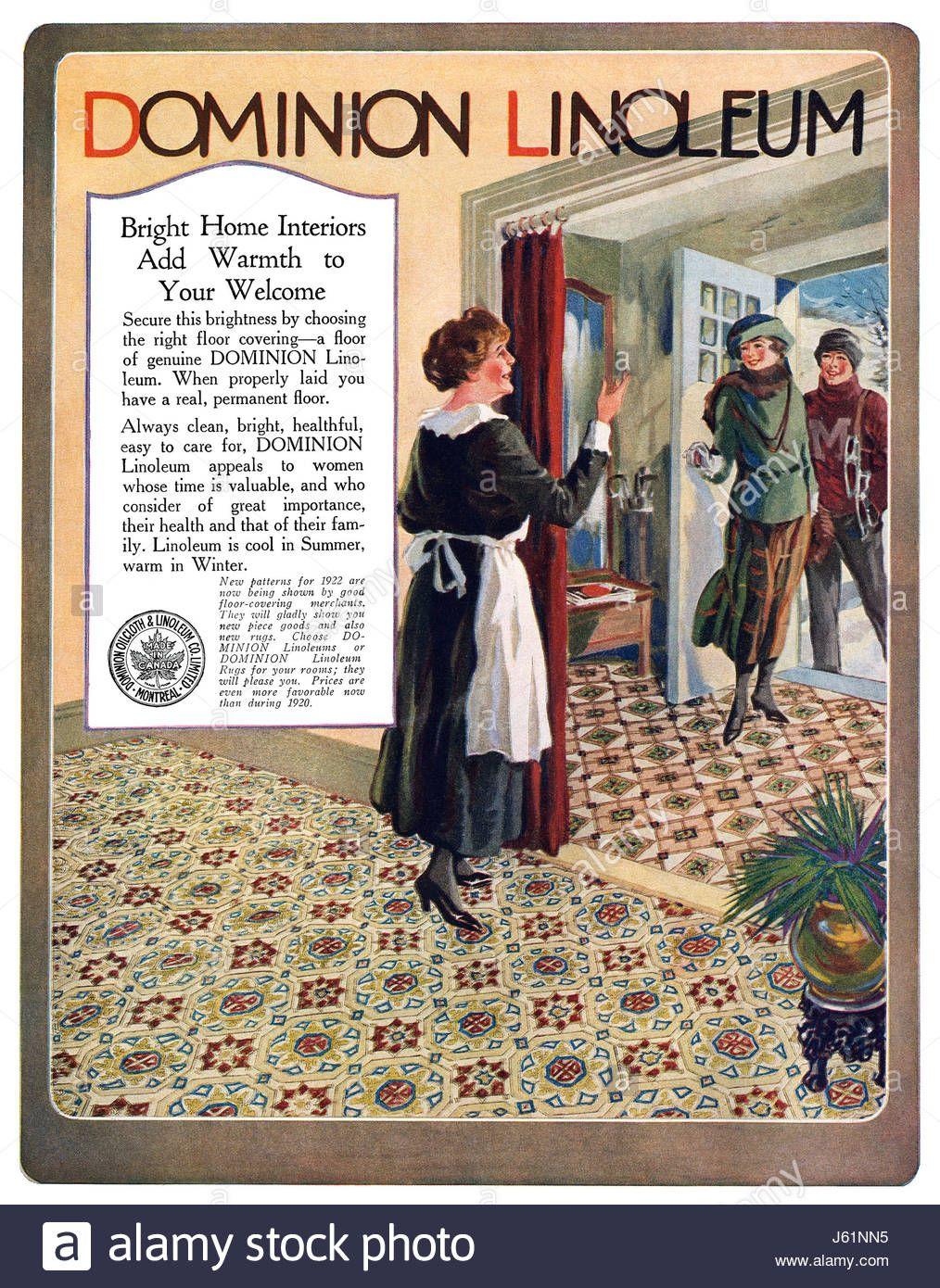 Canadian advertisement for Dominion Linoleum. Publicidad