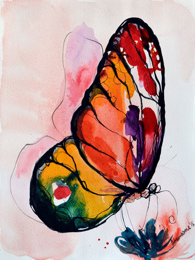 Rainbow Butterfly watercolor painting original artwork. Nature wall art. Unique birthday present summer gift. Watercolour picture. #Etsy #Share #EtsyShop Shared by #BaliTribalJewelry http://etsy.me/1sDZ302