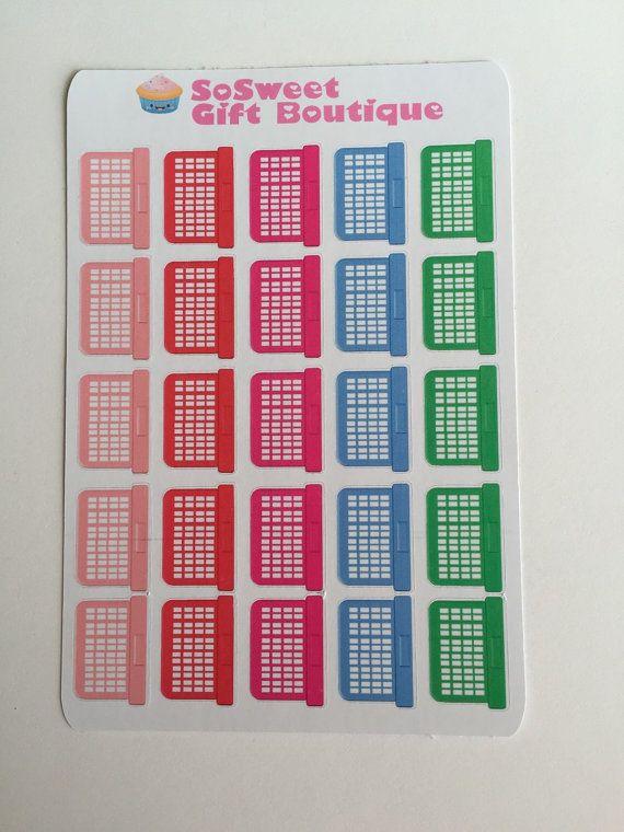 25 Laundry Basket Planner Stickers Calendar by PlannerHeaven