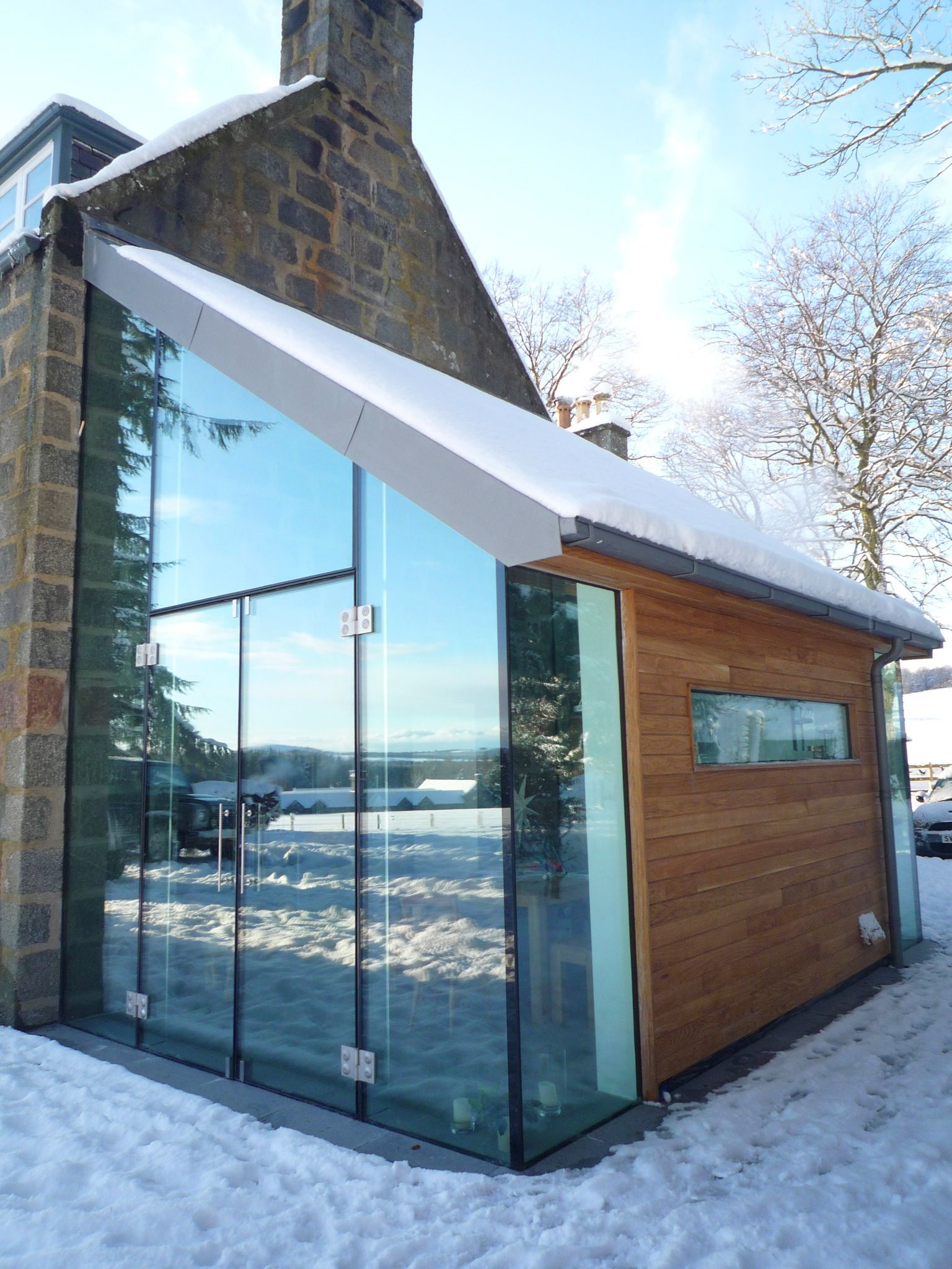 Prospect House Structural Glass Extension Structural Glazing Vmzinc Roof Oak Cladding Frame With Images Glass Extension Architecture Building Design Prospect House
