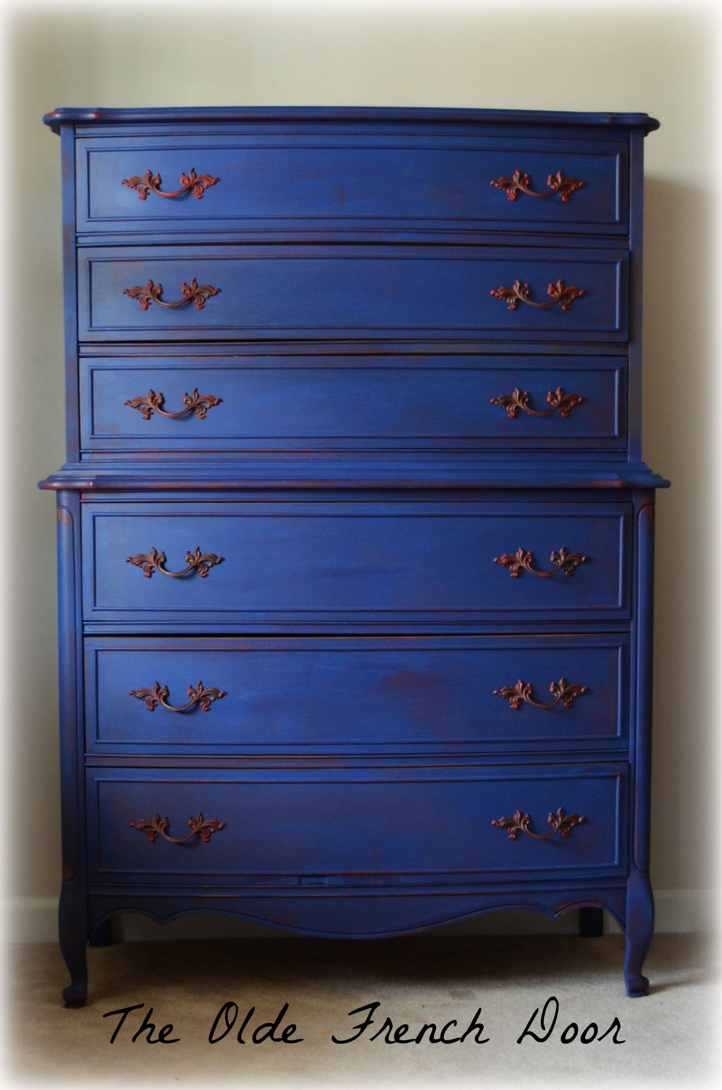 Chalk Paint Annie Sloan Emperor S Silk Napoleonic Blue French Provincial Chest On Chest Highboy