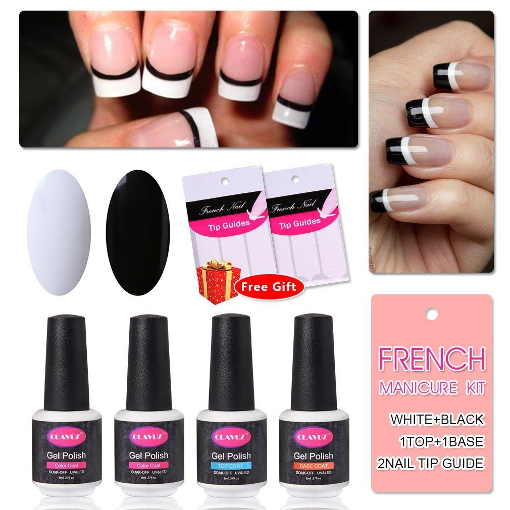 French Manicure Nail Gel Polish Top and Base Coat White Black DIY ...